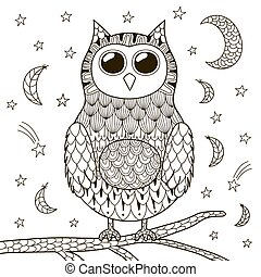 Cute zentangle owl at night for coloring book
