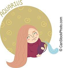 Cute zodiac sign - aquarius. Vector illustration