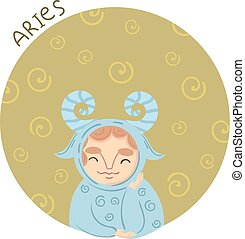 Cute zodiac sign - Aries. Vector illustration.