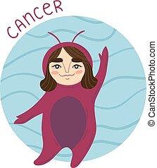 Cute zodiac sign - Cancer. Vector illustration.