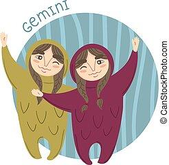 Cute zodiac sign - Gemini. Vector illustration.
