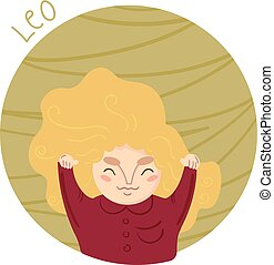 Cute zodiac sign - Leo. Vector illustration.