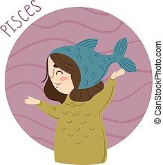 Cute zodiac sign - Pisces. Vector illustration