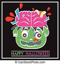 Cute Zombie Head Pop Art Flat Cartoon