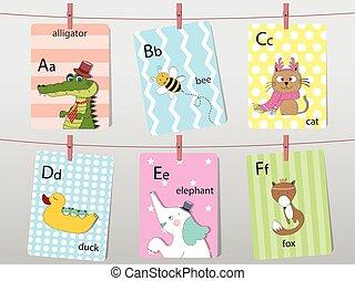 Cute Cartoon Zoo Illustrated Alphabet With Funny Animals Spanish