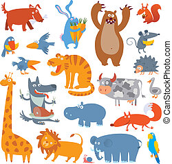Cute zoo animals. Vector illustration. Isolated on white...