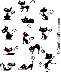 CUTE_BLACK_CAT_01 - collection of black cat silhouettes