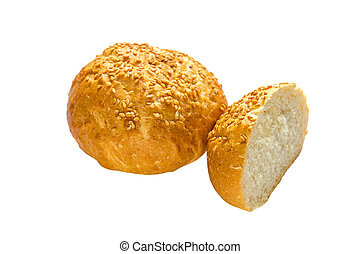 Cuted bun with sesame seeds on white background