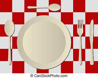 cutelaria, em, plástico, toalha de mesa
