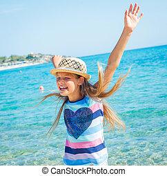 cutie girl in hat - Cute girl in hat on the beach