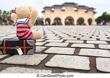 Cutie Happy to Travel in Taipei - Little teddy bear with...