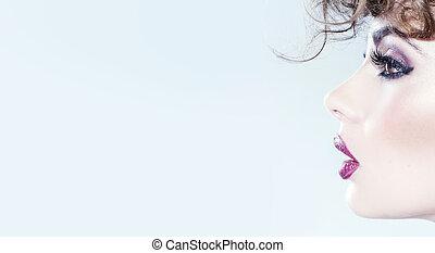 cutie, joven, imaginación, maquillaje