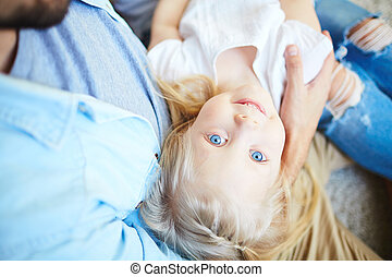 Cutie - Serene girl on her father?s arms