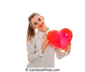 cutie young woman with red lips celebrating valentines day with hearts isolated on white background