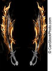 cutlass, het vlammen, zeerover, zwaard