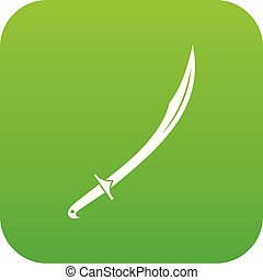 Cutlass icon digital green for any design isolated on white...