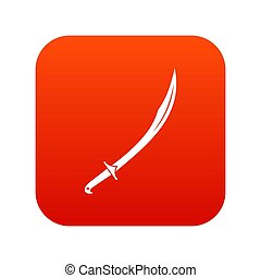 Cutlass icon digital red for any design isolated on white...
