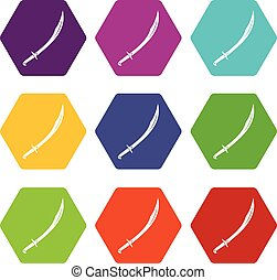 Cutlass icon set color hexahedron - Cutlass icon set many...