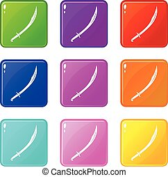 Cutlass icons 9 set - Cutlass icons of 9 color set isolated...
