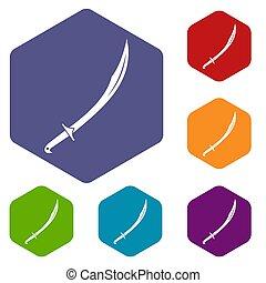 Cutlass icons set hexagon isolated  illustration