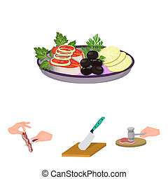 Cutlass on a cutting board, hammer for chops, cooking bacon,...