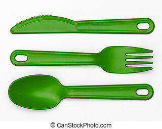 cutlery, プラスチック, 緑