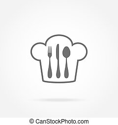 cutlery, 帽子, シェフ