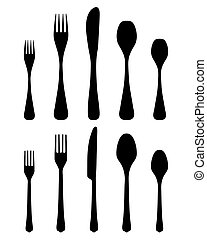 cutlery 2 - Black silhouettes of cutlery, vector