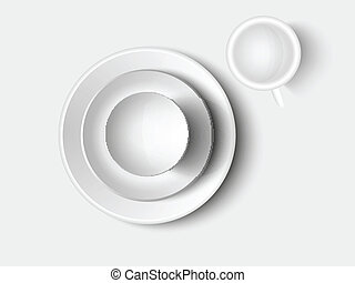 cutlery and crockery set of white on a light background