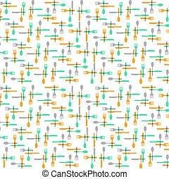 Cutlery and kitchen utensils pattern background illustration