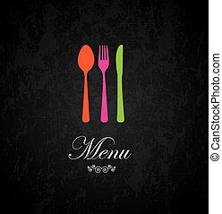 Cutlery and menu label over black background vector illustration
