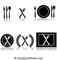 Cutlery and plate icons - Icon illustrations of fork, knife ...