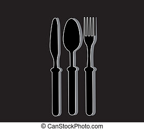Cutlery background black
