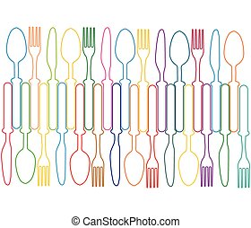 Cutlery background color - Cutlery color background, menu...