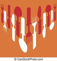 Cutlery background orange