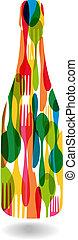 Cutlery bottle shape illustration