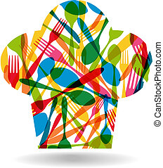 Cutlery chef hat illustration - Colorful dishware chef hat...