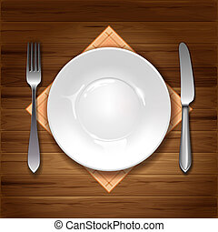 Cutlery - Clean plate with knife, fork and napkin on wooden...