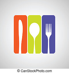 Cutlery color - Silhouette of knife, fork and spoon with...