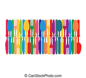 Cutlery colorful background