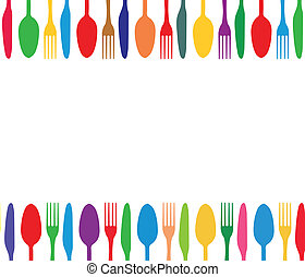 Cutlery colorful background - Cutlery color background, menu...