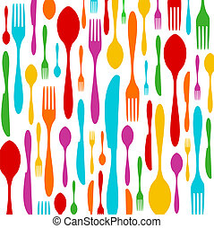 Cutlery colorful pattern on white