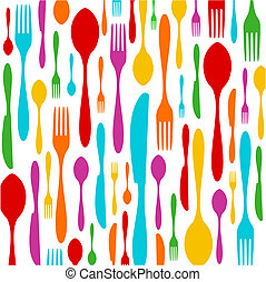 Cutlery colorful pattern on white - Cutlery colorful...