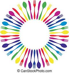 cutlery., colorito, circondato