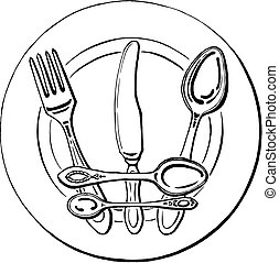 cutlery - crown on a plate