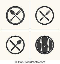 Cutlery flat icon set
