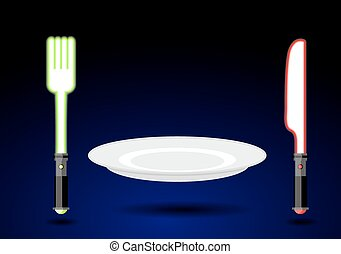 Cutlery from future. Knife and fork as light sword. An empty plate in weightlessness. Cutlery accessories on background of dark sky. Green Plug energy force light saber. Red glow of light-knife.