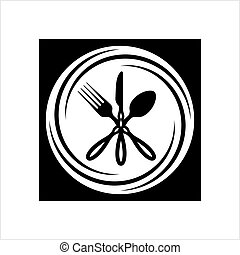 Cutlery Icon, Fork, Spoon And Knife