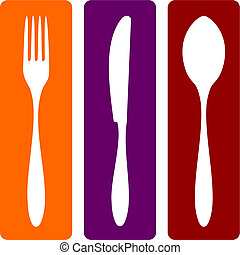 Cutlery icons. Fork, knife and spoon silhouettes on different backgrounds. Vector avaliable