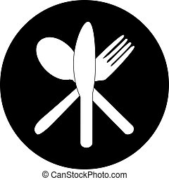 Cutlery icons. Fork, knife and spoon silhouettes .